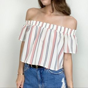 Forever 21 Tops - ⭐️F21 pastel striped off shoulder ruffle crop top